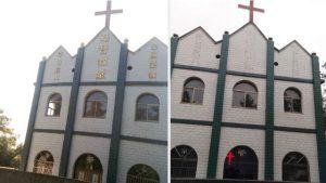 Religiöse Begriffe wurden von einer Kirche entfernt.