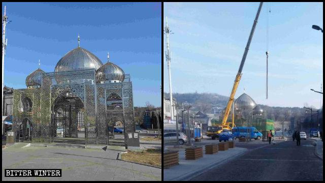 Die Architektur im islamischen Stil der Straße mit Halal-Lebensmitteln wurde zerstört.