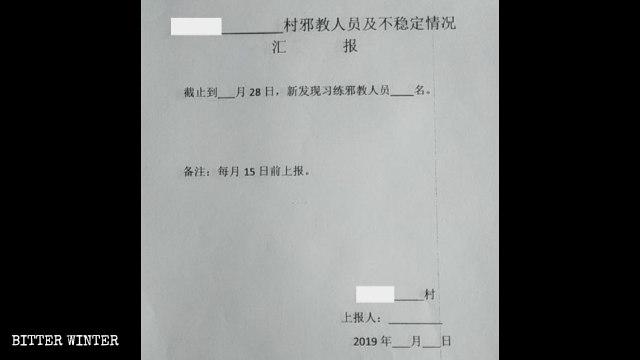 Bericht über die Anzahl der Mitglieder in allen religiösen Gruppen