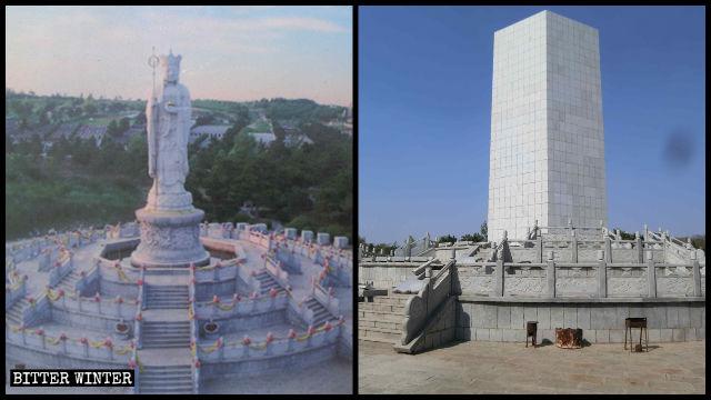 Die Ksitigarbha-Bodhisattva-Statue ist nun von Marmorplatten umgeben.