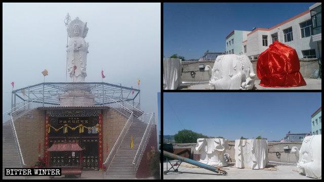 Guanyin-Statue bevor und nachdem sie in Stücke zerlegt.