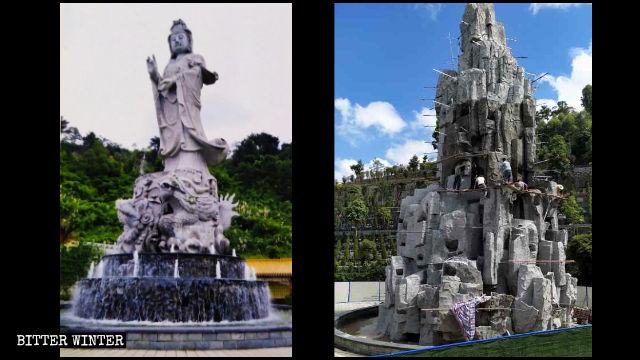 Das tropfende Wasser Guanyin Bild ist im Steingarten versteckt