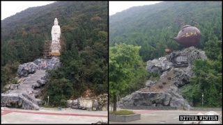 Buddhistische Götterstatue durch riesige Teekanne ersetzt