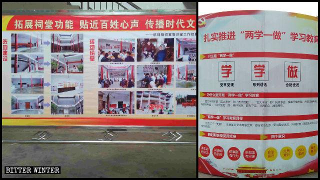 Ausstellungstafeln und Slogans für die Propagierung der Parteipolitik