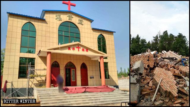 Eine Drei Selbst-Kirche vor und nach ihrer Zerstörung.