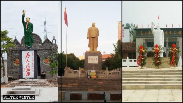 Statuen von Mao Zedong im Freien, die im ganzen Land hoch stehen